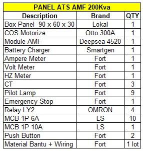 Jual Panel AMF ATS 200Kva