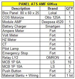 Jual Panel AMF ATS 60Kva